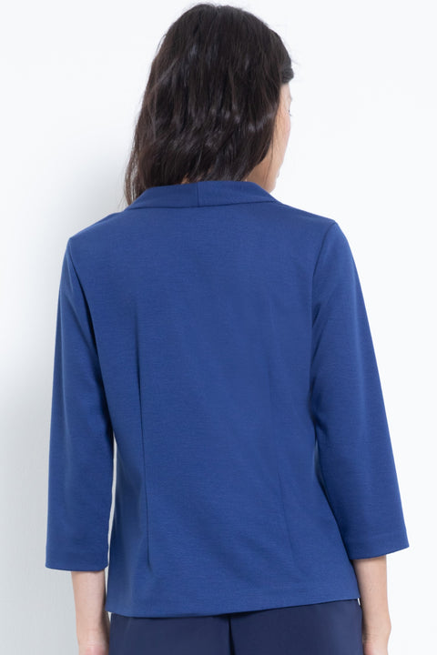 3/4-sleeve ponte v-neck blouse - back view