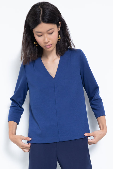 3/4-sleeve ponte v-neck blouse - front view