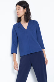 3/4-sleeve ponte v-neck blouse - front view 2