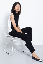 Colorblock knit modal mock neck top - sitting view