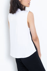 Colorblock knit modal mock neck top - back view