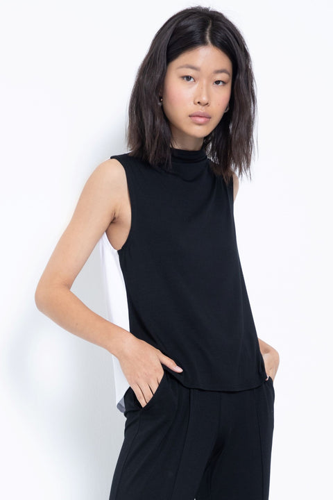 Colorblock knit modal mock neck top - front view