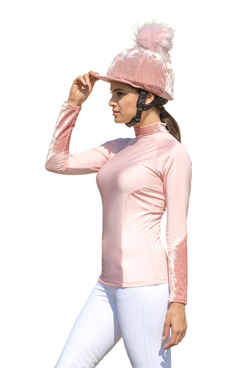 Stockinjur Baby Pink Dapple Baselayer and pom pom riding hat silk