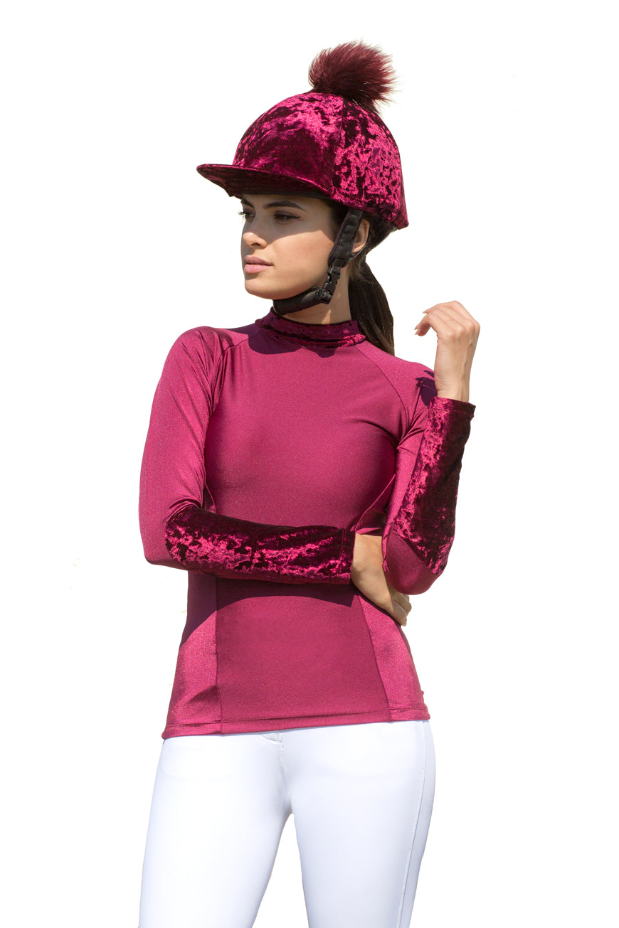 Cranberry Dapple matching baselayer and pom pom hat silk