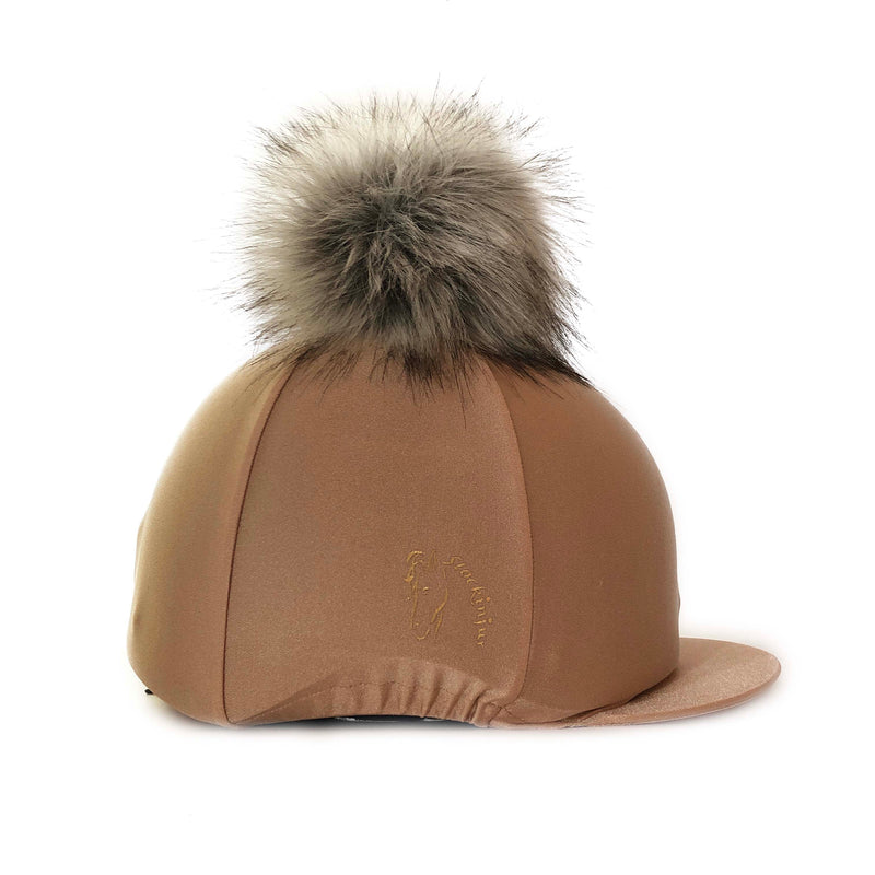 Caramel Big Pom Lycra Faux Fur Hat Cover