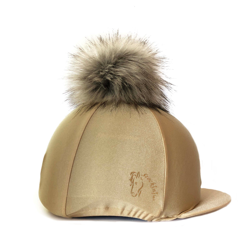 Champagne Big Pom Lycra Faux Fur Hat Cover