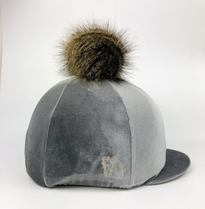 Grey velvet pom pom hat silk