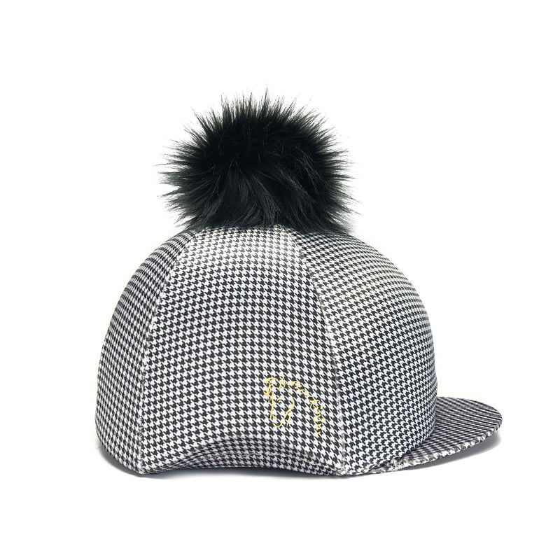 Black & White Velvet Houndstooth Hat Cover