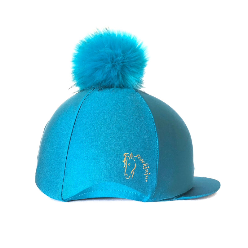 Peacock Big Pom Lycra Faux Fur Hat Cover