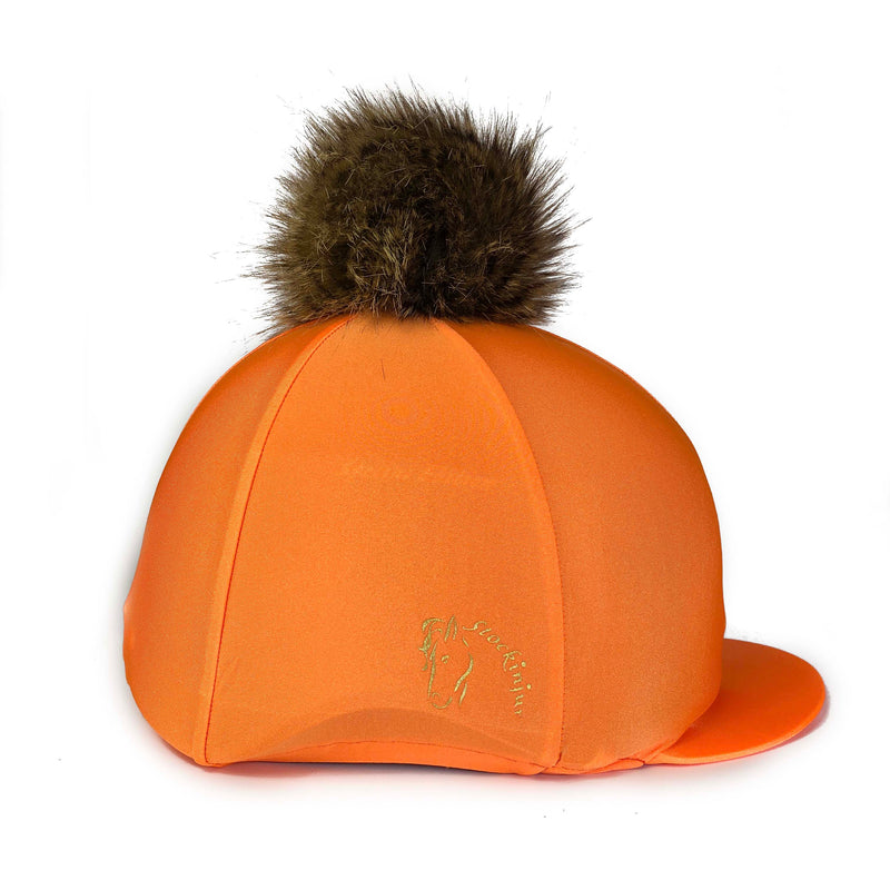 sunset orange pom pom hat silk