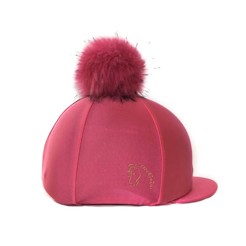 French Rose Big Pom Lycra Faux Fur Hat Cover