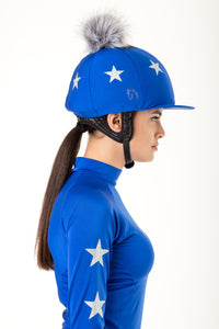 Royal Blue Lycra with Silver Stars