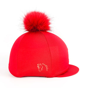 Lava Red Big Pom Lycra Faux Fur Hat Covers