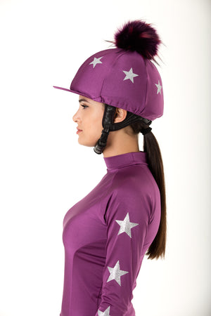 Plum with Silver Stars