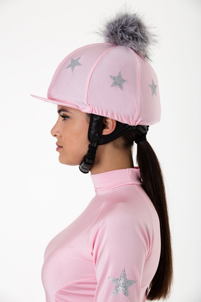 Stockinjur Baby Pink Constellation Riding Baselayer and pom pom riding hat cover