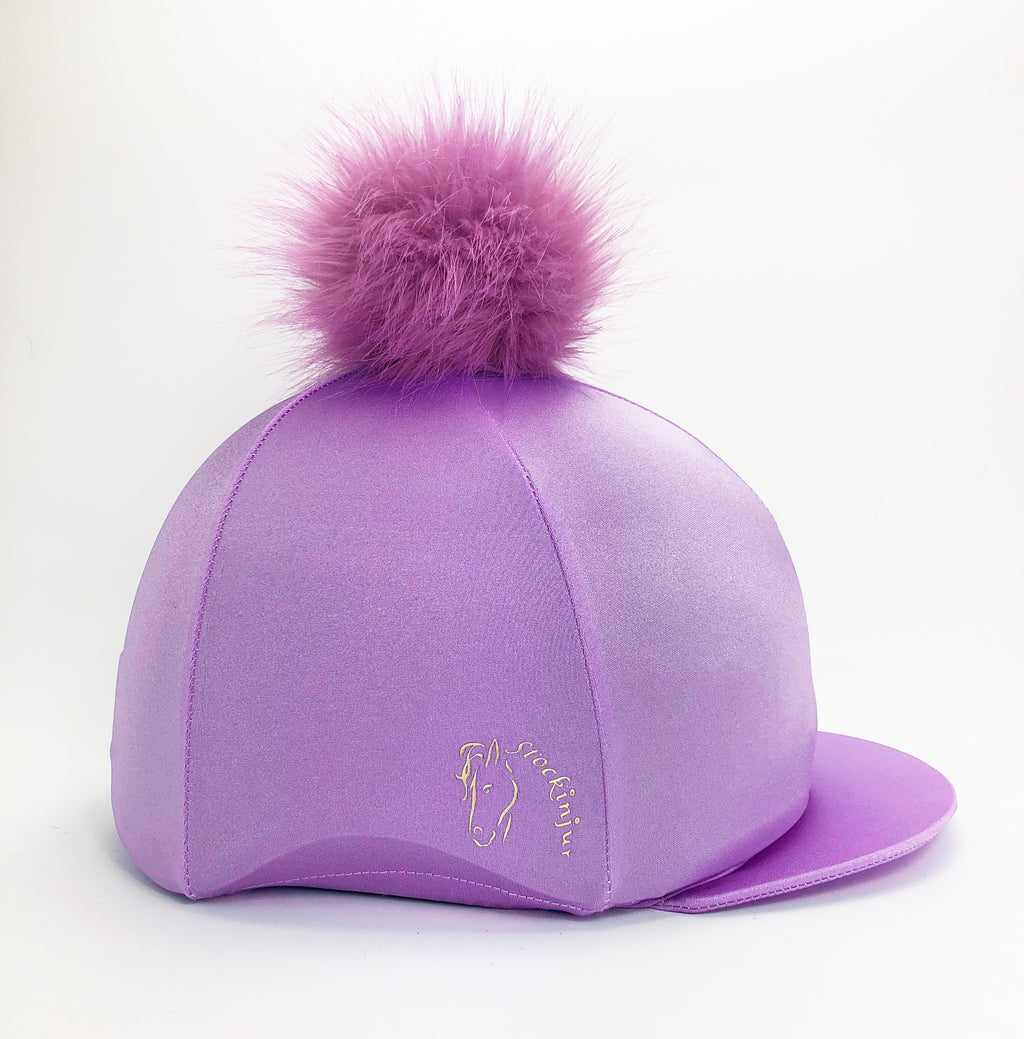 Lavender Big Pom Lycra Faux Fur Hat Silk