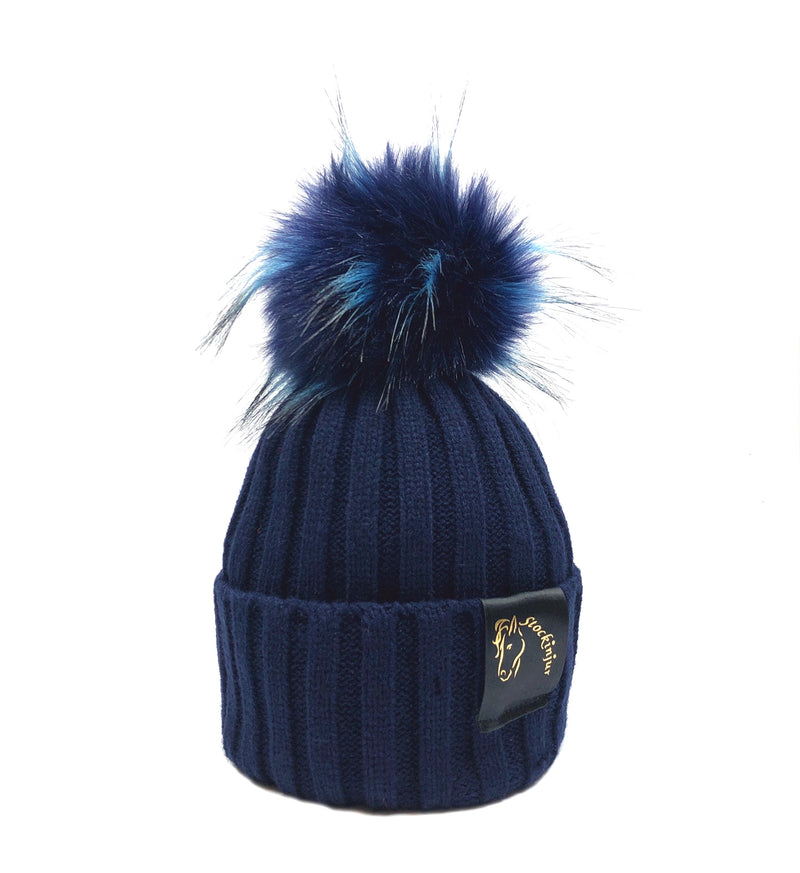 Navy & Navy with Baby Blue Fleck Bobble Beanie
