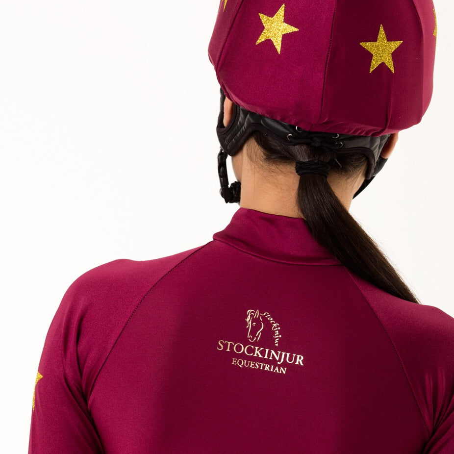 Cranberry Constellation Baselayer and matching pom pom hat silk