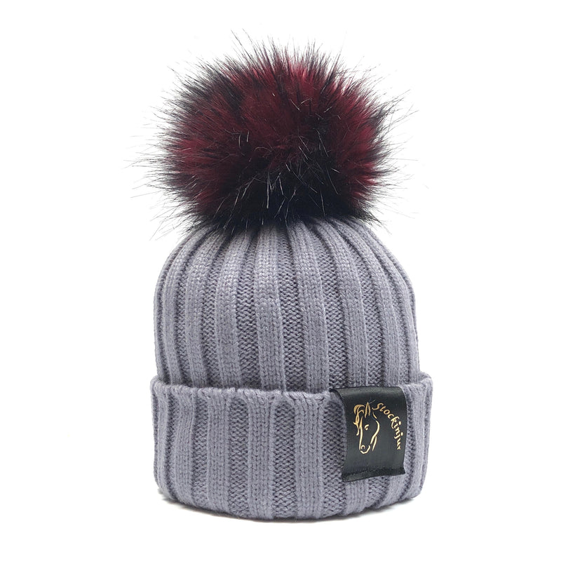 Grey & Cranberry Bobble Beanie