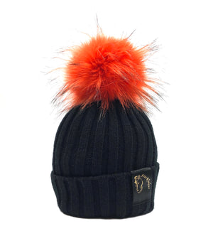 Black & Orange Bobble Beanie