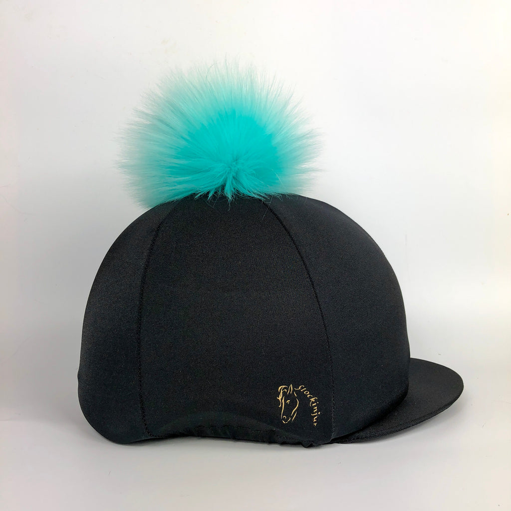 Black with Turquoise Big Pom Faux Fur Hat Silk