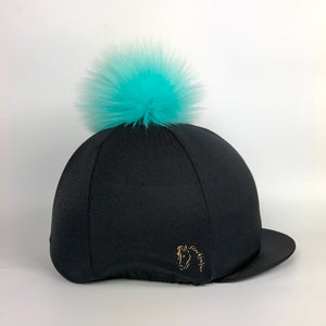 Black with Turquoise Big Pom Faux Fur Hat Cover