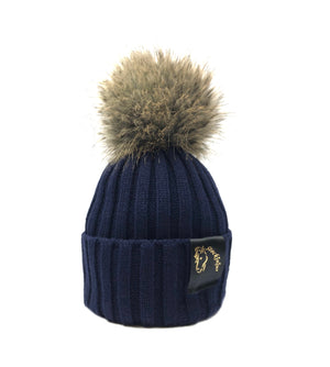Navy & Natural Bobble Beanie