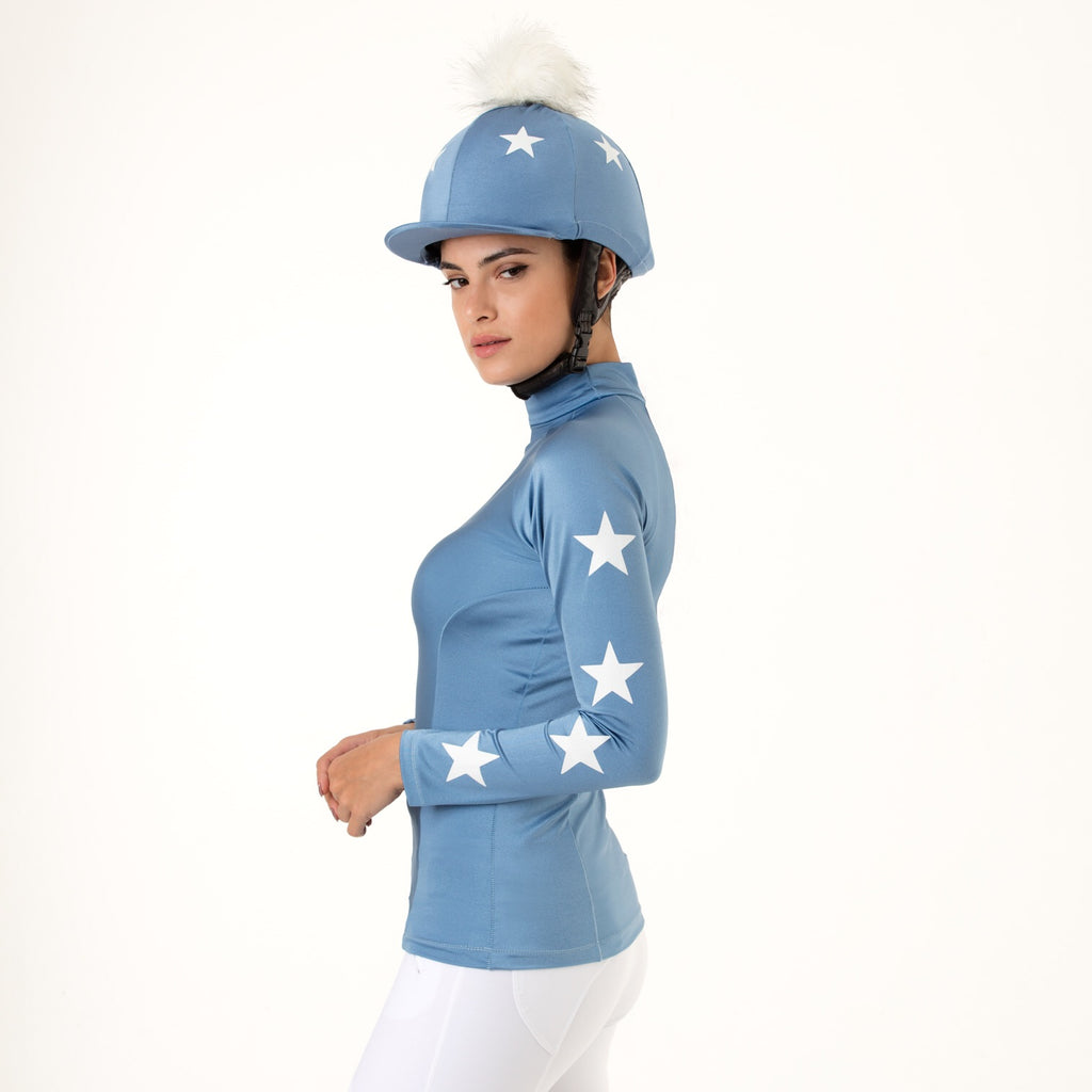 Cornblue Constellation XC Set w/ White Stars and Pom Pom Hat Silk