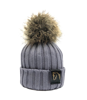 Grey & Natural Bobble Beanie