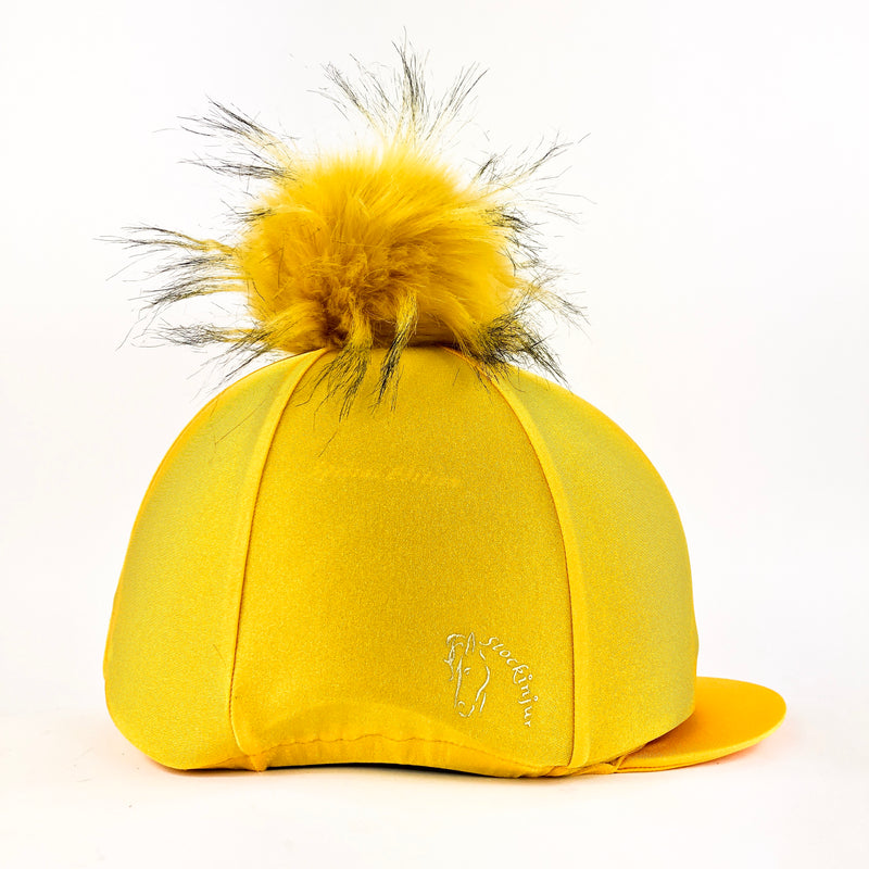 Mustard Big Pom Lycra Faux Fur Hat Cover