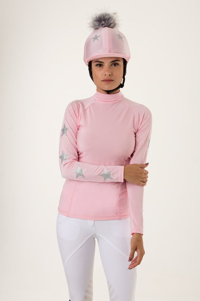 Stockinjur Baby Pink Constellation Riding Baselayer and pom pom riding hat silk