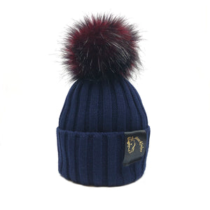 Navy & Cranberry Bobble Beanie
