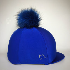 Royal Blue Big Pom Lycra Faux Fur Hat Covers