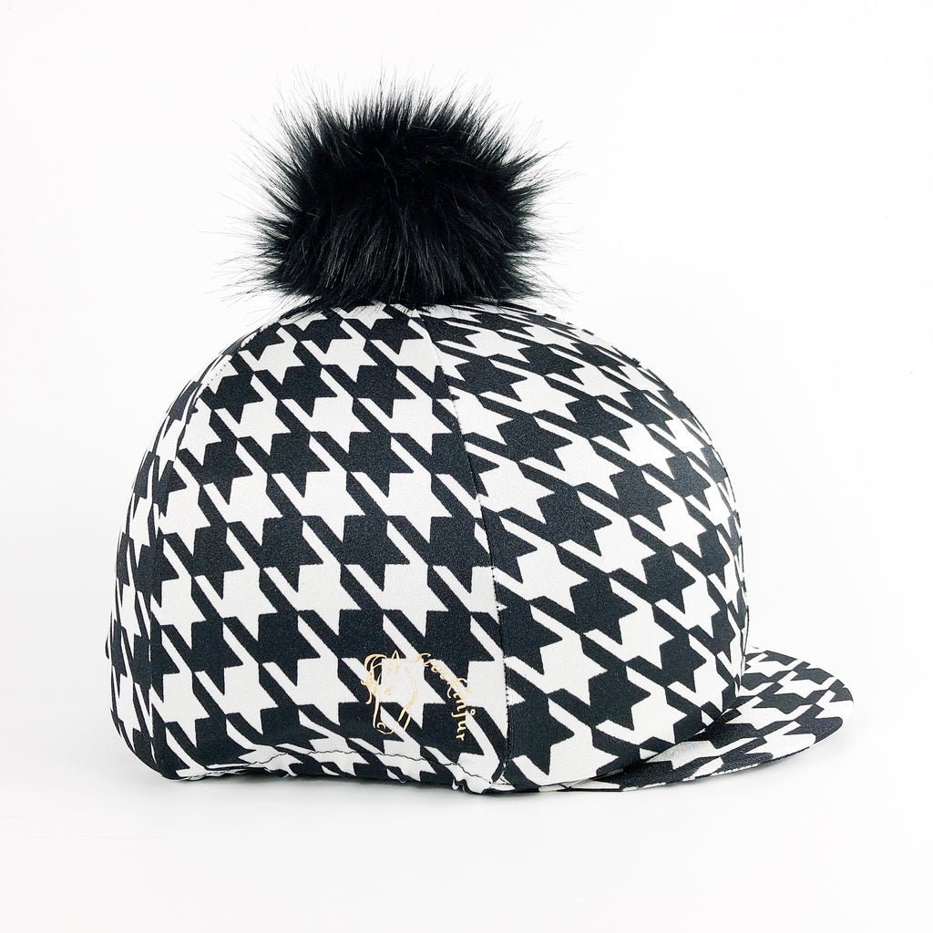 Black & White Houndstooth Hat Cover