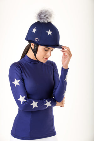 Constellation Navy Pom Pom Hat Silk and baselayer