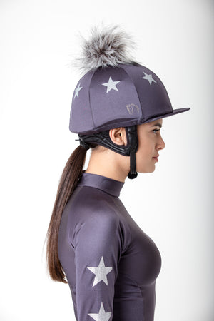 Charcoal with Silver Stars Pom Pom Hat Silk