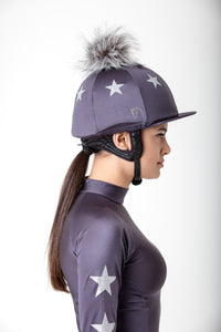 Charcoal with Silver Stars Lycra Hat Cover