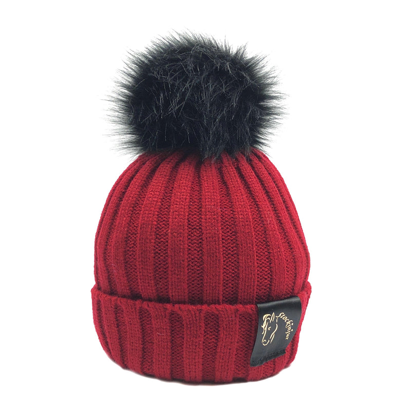 Wine & Black Bobble Beanie