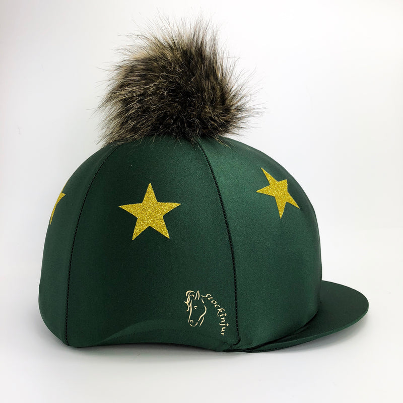 Forest Green Lycra Pom Pom Silk with Gold Stars