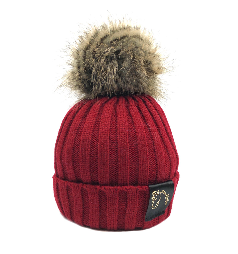 Wine & Natural Bobble Beanie