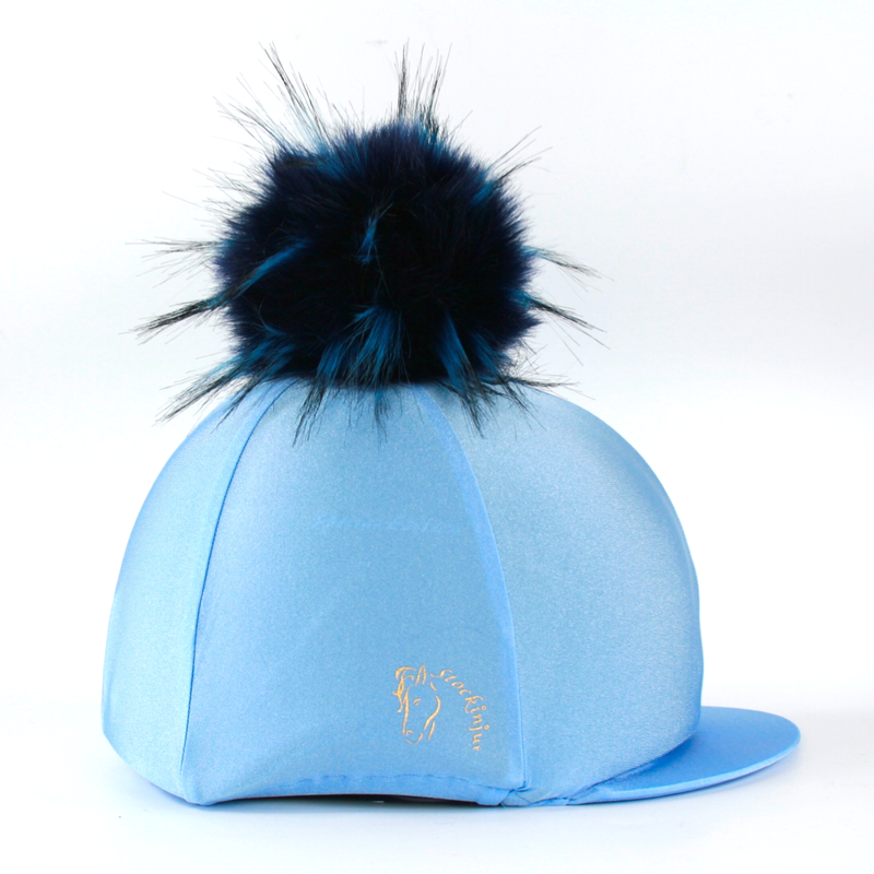 Ice Blue Navy Big Pom Lycra Faux Fur Hat Covers