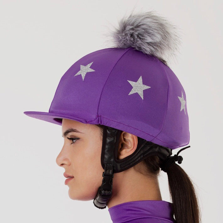 Blackcurrant Lycra with Silver Stars