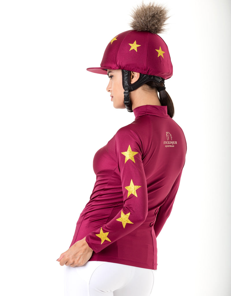 Cranberry riding baselayer and matching pom pom hat silk