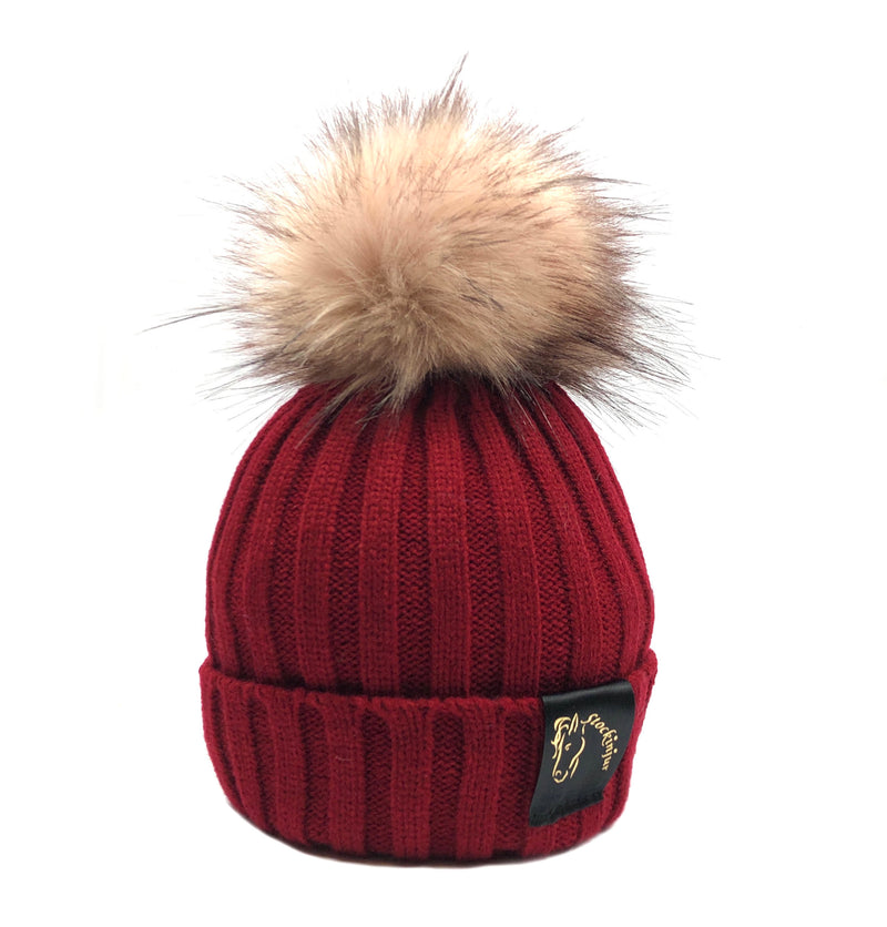 Wine & Blush Bobble Beanie