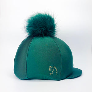 Forest Green Big Pom Lycra Faux Fur Hat Silk