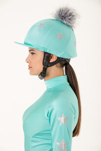 Mint Lycra with Silver Stars