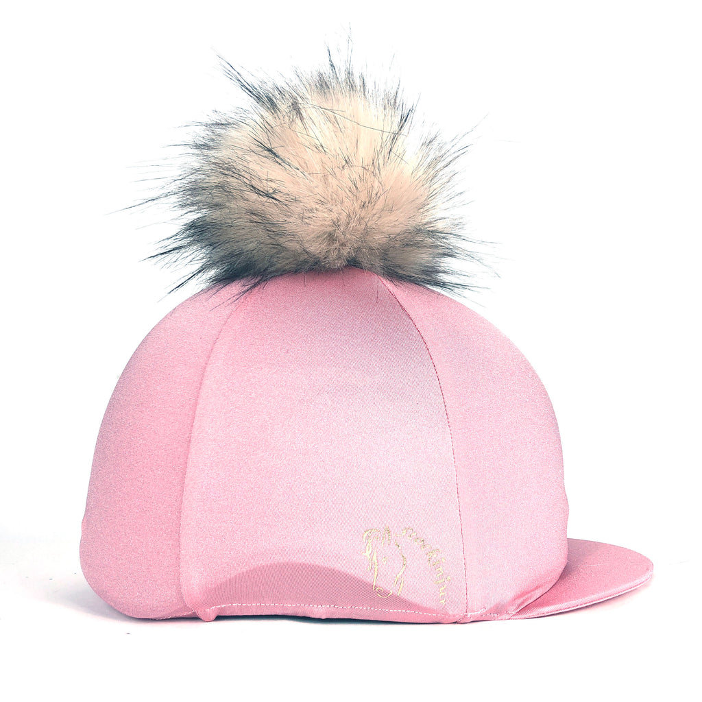 Baby Pink Big Pom Lycra Faux Fur Hat Cover