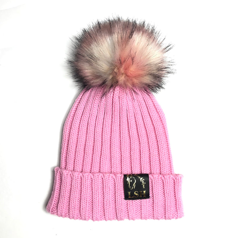 Baby Pink Bobble Beanie