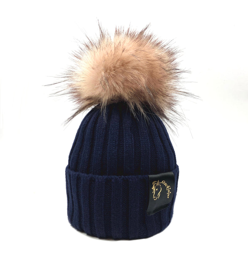 Navy & Blush Bobble Beanie