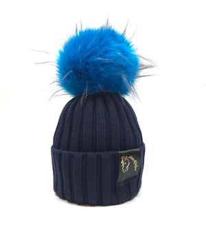 Navy & Teal Bobble Beanie